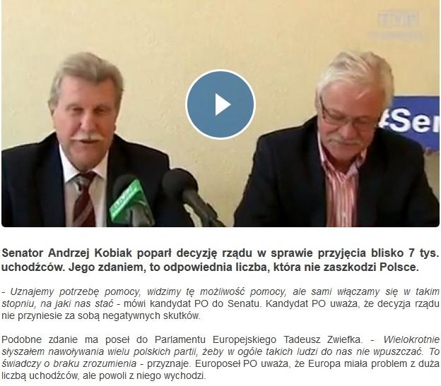 Screen z TVP - Bydgoszcz 4 października 2015, 18:43 Mat.pt. Kobiak: 7 tys. uchodźców naszemu krajowi nie zaszkodzi.