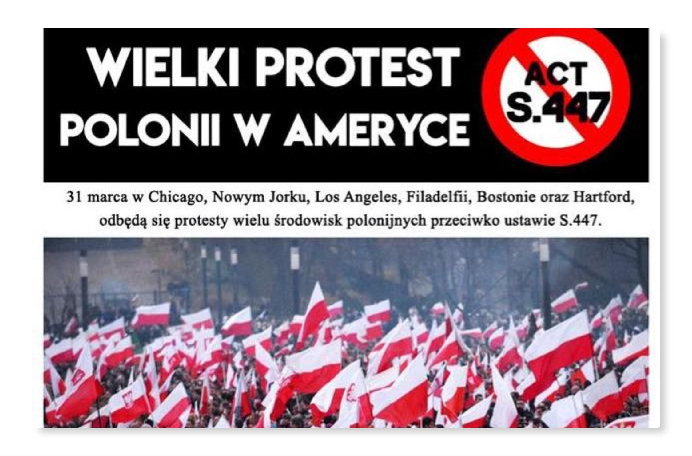 O TYM MEDIA NAS NIE INFORMUJĄ! AMERYKAŃSKA POLONIA ORGANIZUJE WIELKI PROTEST W SPRAWIE ACT447 JUST